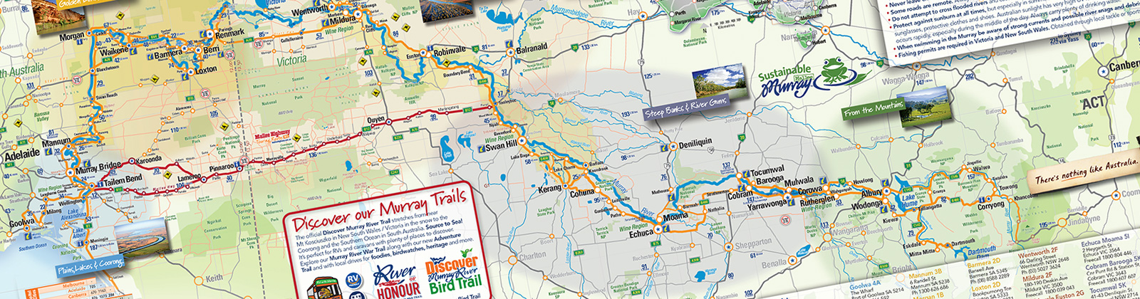 Map Of Australia Murray River.Discover Murray River Trail Map Murray River Shop